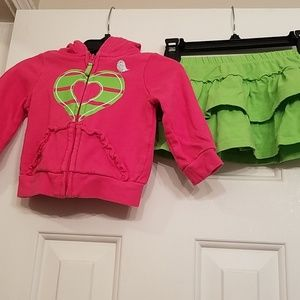 Children's Place hoodie & skirt w/ built-in shorts